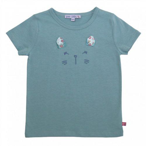 Enfant Terrible Kurzarm-Shirt Katzengesicht jade, GOTS