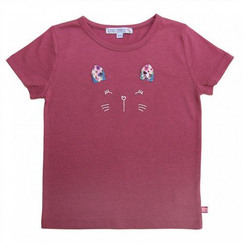 Enfant Terrible Kurzarm-Shirt Katzengesicht malve, GOTS