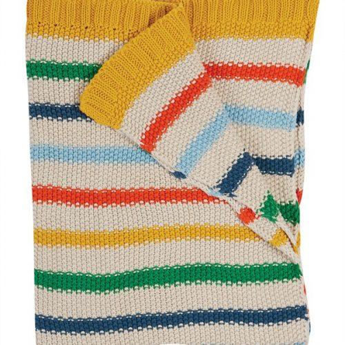 Frugi Kuscheldecke im Rainbow Stripes aus Bio-Baumollstrick BLS101RBS