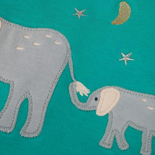 Frugi Schlafanzug Elefant in blau-geringelt aus Bio-Baumwolle