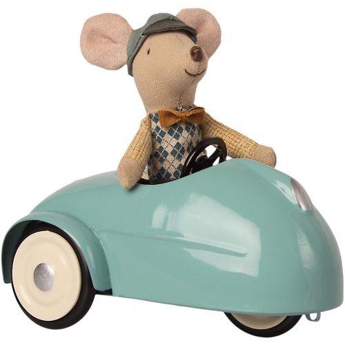 Maileg Maus mit Auto in blau und Garage aus Holz