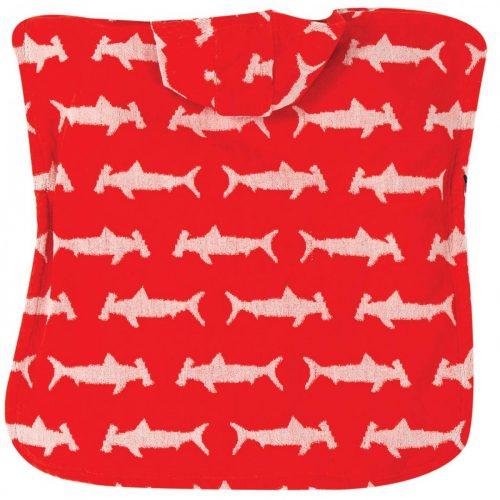 Frugi Kapuzenhandtuch Hammerhai rot-weiss aus Bio Baumwolle badeponcho