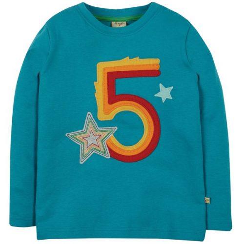 Frugi Langarm-Shirt Magische Zahl 5 - Verrate wie alt Du schon bist