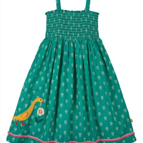 Frugi 2-in-1 Rock-Kleid Cora in jasmin mit Entenapplikation