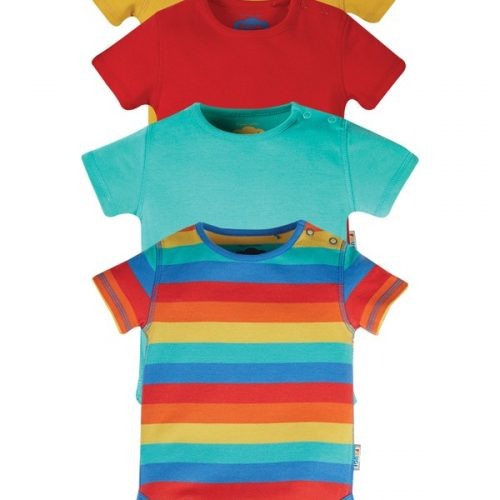 Frugi Kurzarm-Body Over the rainbow (4 Designs) aus Bio Baumwolle