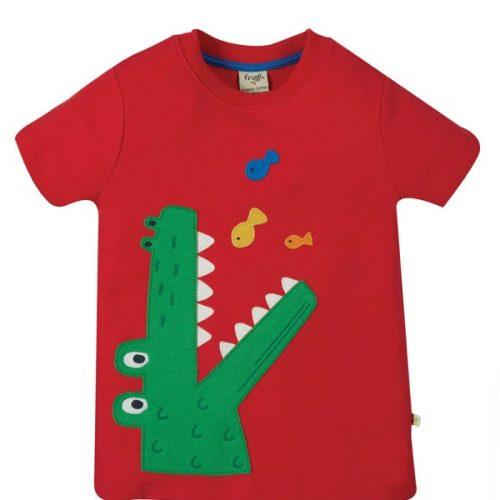 Frugi Kurzarm-Shirt Krokodil rot aus Bio Baumwolle