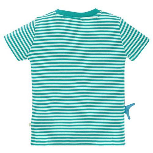 Frugi Kurzarm-Shirt Hai Joshua in türkis-weiss gestreift