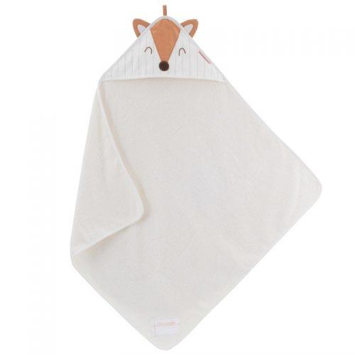 Little Crevette Kapuzenhandtuch Fuchs in weiss aus Bio Baumwolle