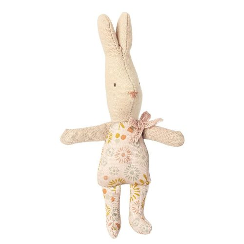 Maileg Hase My Girl micro mit blumigen Anzug und rosa Schleife