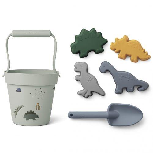 Liewood Sandspielzeug Dinosaurier Set: Eimer, Schaufel und 4 Förmchen