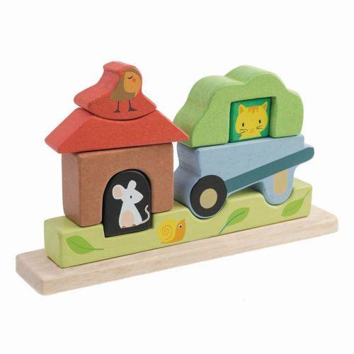 Stapelspiel / Holzpuzzle magnetisch Im Garten von Tender Leaf Toys