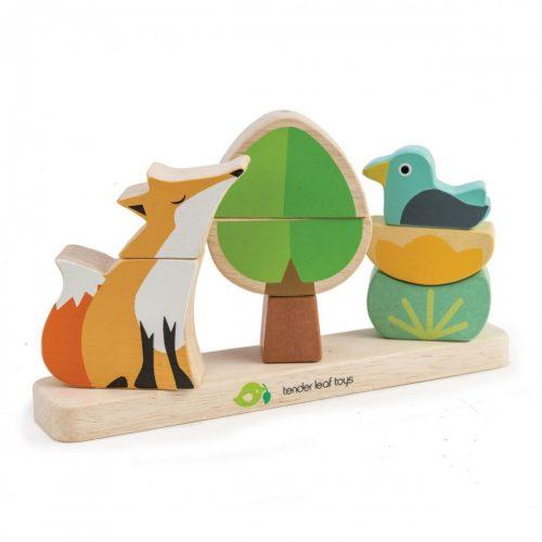 Stapelspiel / Holzpuzzle magnetisch Im Wald von Tender Leaf Toys