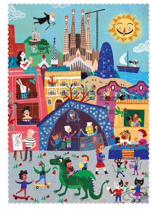 Londji Puzzle Nacht & Tag in Barcelona für Kinder ab 3 Jahre