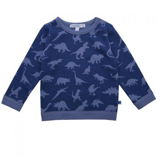 Enfant Terrible Baby-Sweatshirt mit Dinodruck in taubengrau-dunkelblau