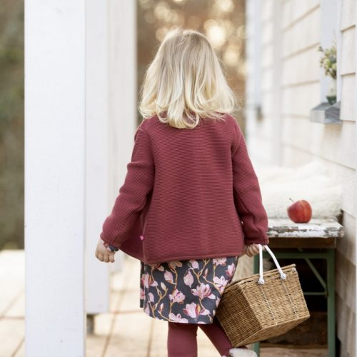 Enfant Terrible Webkleid mit Magnolien in schiefer-rosé