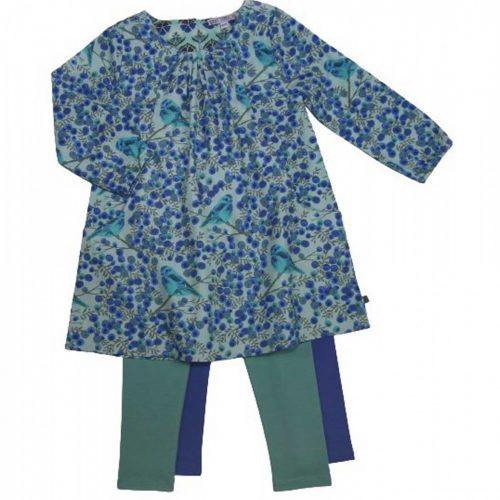 Enfant Terrible Webkleid mit blauen Beeren und Vögeln in ozean-himmelblau