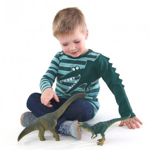 EnfantTerrible LangarmShirt Krokodil tanne-türkis aus Bio Baumwolle