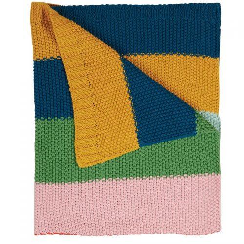 Frugi Kuscheldecke Multi Rainbow Stripes aus Bio-Baumollstrick