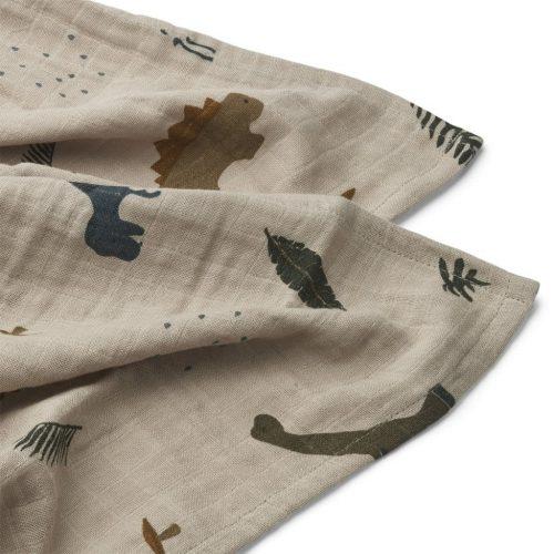 Liewood Mulltuch-2er-Set Lewis Dino dark sandy Mix 70 x 70 cm