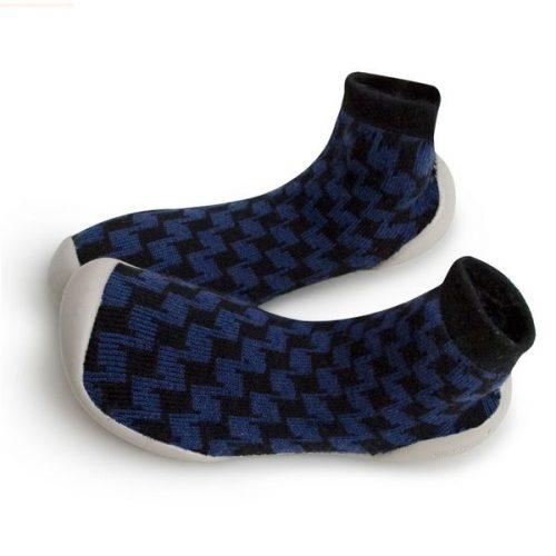 Collegien Hausschuhe Polkadot in blau aus Kaschmir & Wolle 855C