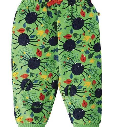Frugi Jogginghose Spinnen in grün ohne Taschen - perfekt für Halloween PUA101GSD